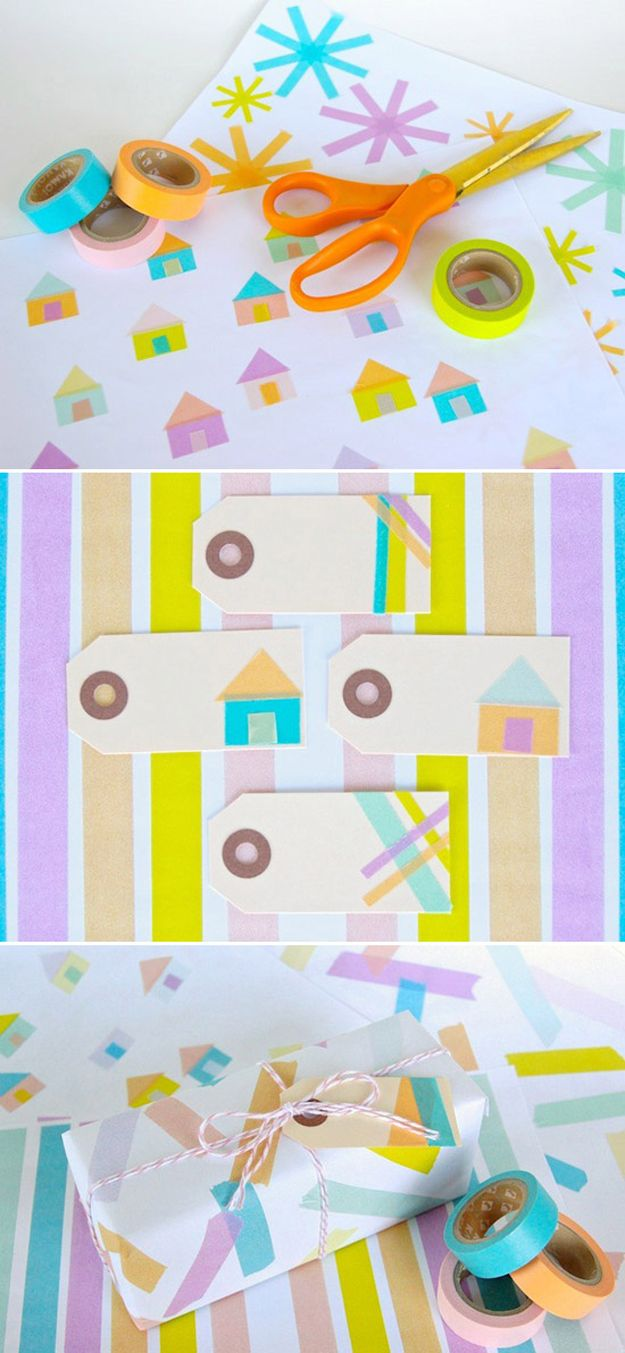 Washi Tape Art Ideas for Gift Wrap | http://diyready.com/100-creative-ways-to-use-washi-tape/