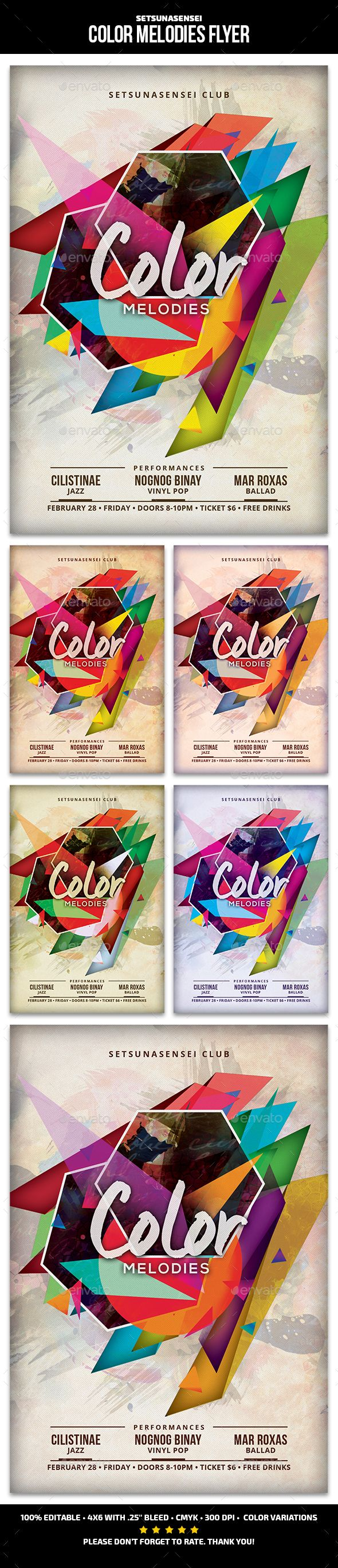 Color Melodies Flyer Template PSD. Download here: http://graphicriver.net/item/color-melodies-flyer/15539515?ref=ksioks