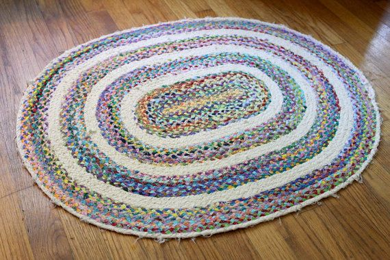 Upcycled Handmade Oblong Oval Braided Rag Rug Braided