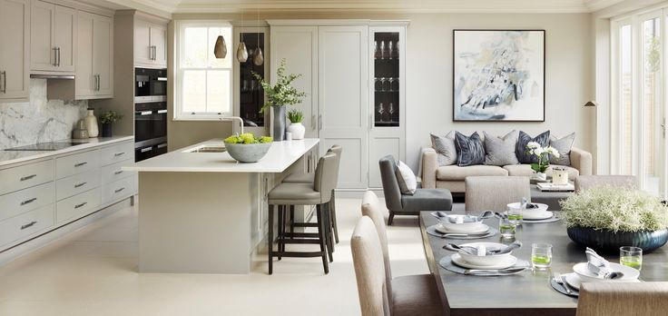 I'm loving the chalky shades of this open plan kitchen by Sophie Paterson