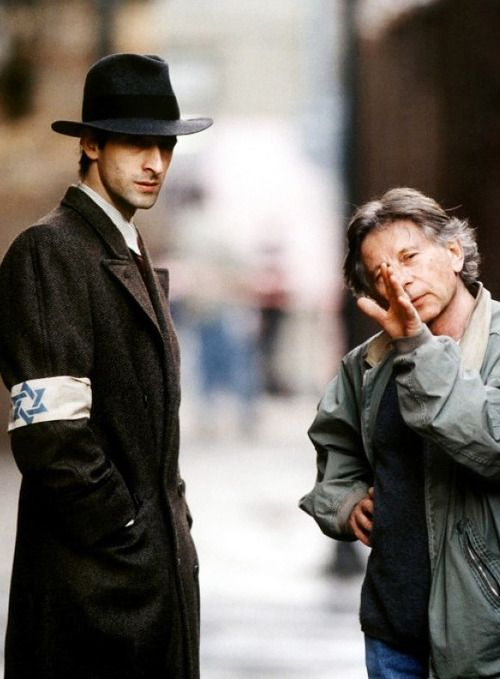 Adrien Brody & Roman Polanski on the set of The Pianist