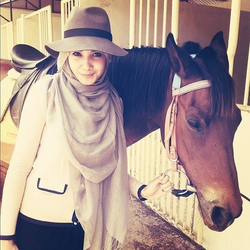 Hat and hijab look.