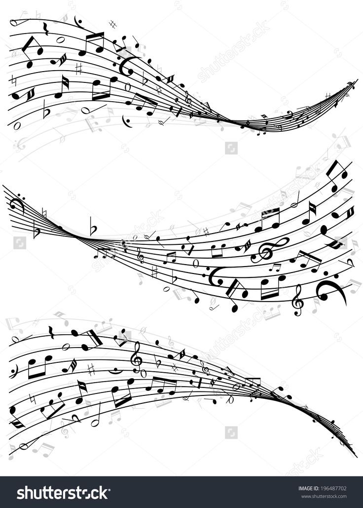 Set Of Three Different Wavy Lines Or Staves Of Random Scattered Music Notes In…