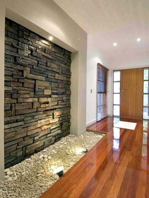 interesting concept use our stacked stone panels for an indoor waterfall easy install very realistic - Home Interior Wall Design