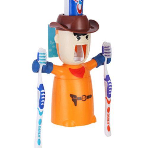 Cartoon Traceless Plastic Automatic Toothpaste Dispenser Set Kids Toothbrush Holder Bathroom Toothpaste Squeezer