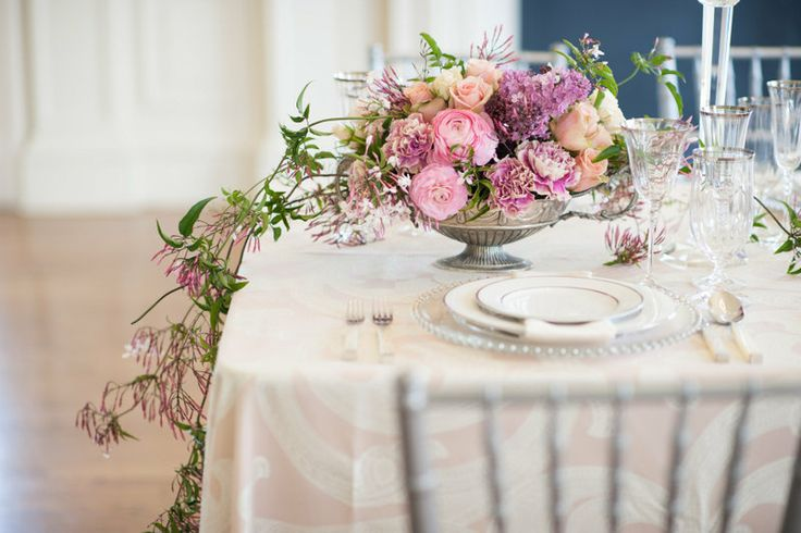 Downtown Abbey Wedding Inspiration - Ankara Blush Linen from Napa Valley Linens   Sandra Fazzino Photography