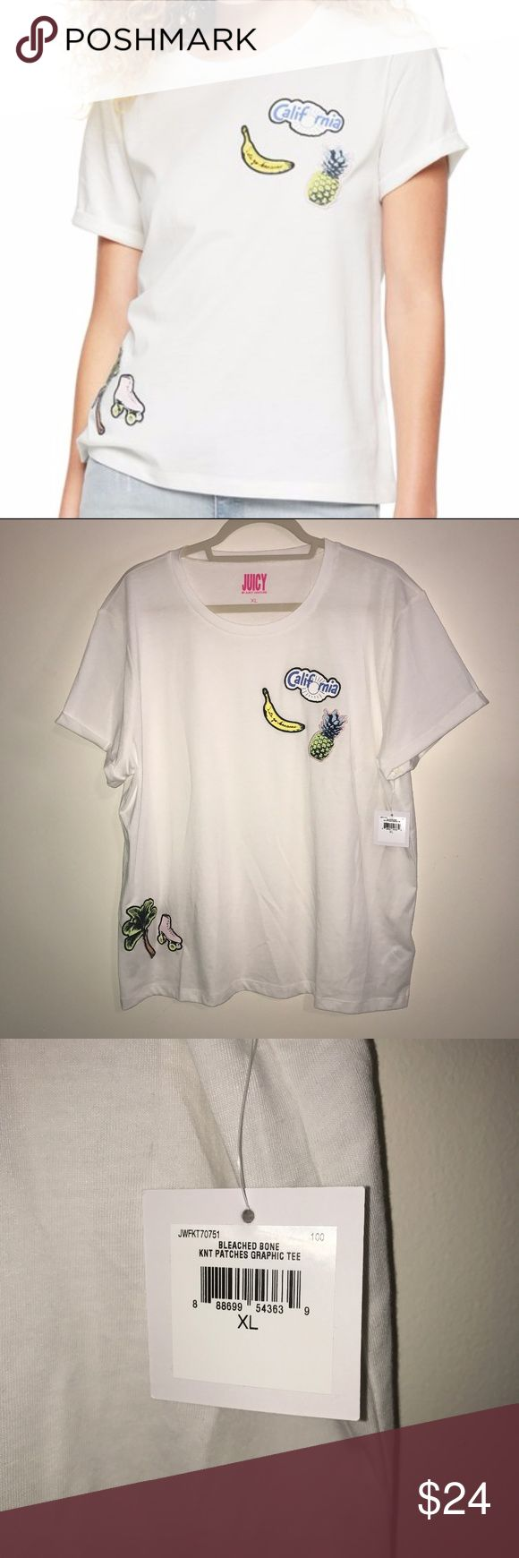 """BNWT XL Patches Graphic Tee by Juicy Couture White BNWT XL Patches Graphic Tee by Juicy Couture. White with adorable patches at upper left breast and lower right hip. Upper left patches are California in a cloud with a sun for the O, a Banana with script saying """"Let's go bananas"""" and a Pineapple. Lower right hip are a palm tree and roller skate. Sleeves are cutely cuffed and this tee is incredibly soft and high quality. No flaws. First photo courtesy of brand. Still available on website…"""