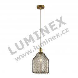 TRIO Margit, Závěsné svítidlo LED 1x60W/E27/230 V, kov staromosazný, sklo hnědé