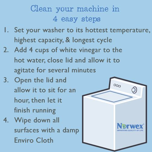 To clean your top load machine, start by setting your washer to its hottest temperature, highest capacity & longest cycle. Add 4 cups of white vinegar to the water, close the lid & allow it to agitate for several minutes. Open the lid & allow it to sit for an hour so the vinegar can do its job to get rid of the bacteria hiding in your machine. Let the cycle complete. Wipe down all surfaces inside, including the detergent & fabric softener compartments, with a damp Enviro cloth.