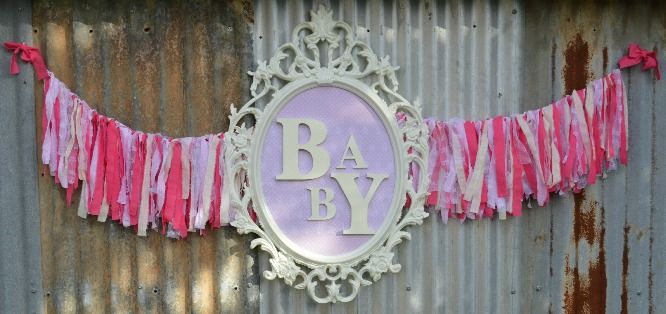 Baby girl Pretty pink and lace baby shower backdrop. Ikea UNG frame