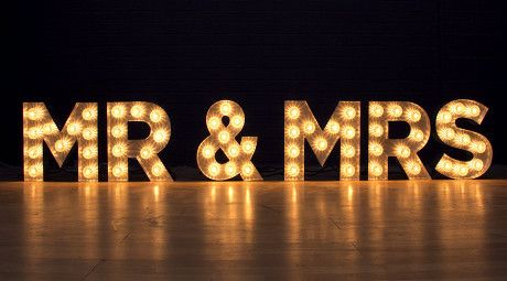 Wedding Vintage Furniture MR & MRS MARQUEE SIGN www.ruthshouseinc.com