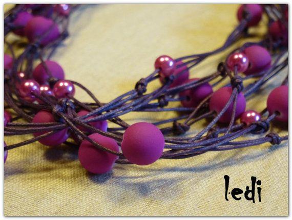 Collana realizzata in filo cerato perline in di lediShirley