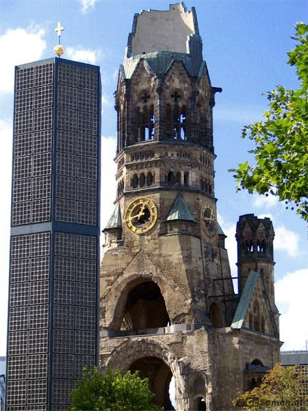 """Kaiser Wilhelm Gedaechtniskirche nicknamed """"The Hollow Tooth"""" by the Berliners."""