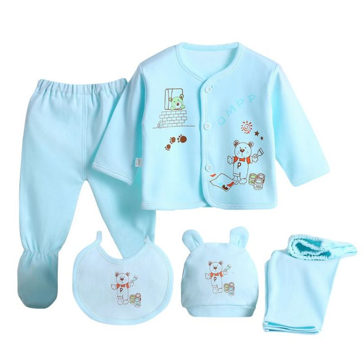 5Pcs/Set Newborn Baby Clothing Set Baby Boys Girls Cotton Cartoon Printed Underwear 0-3M L07