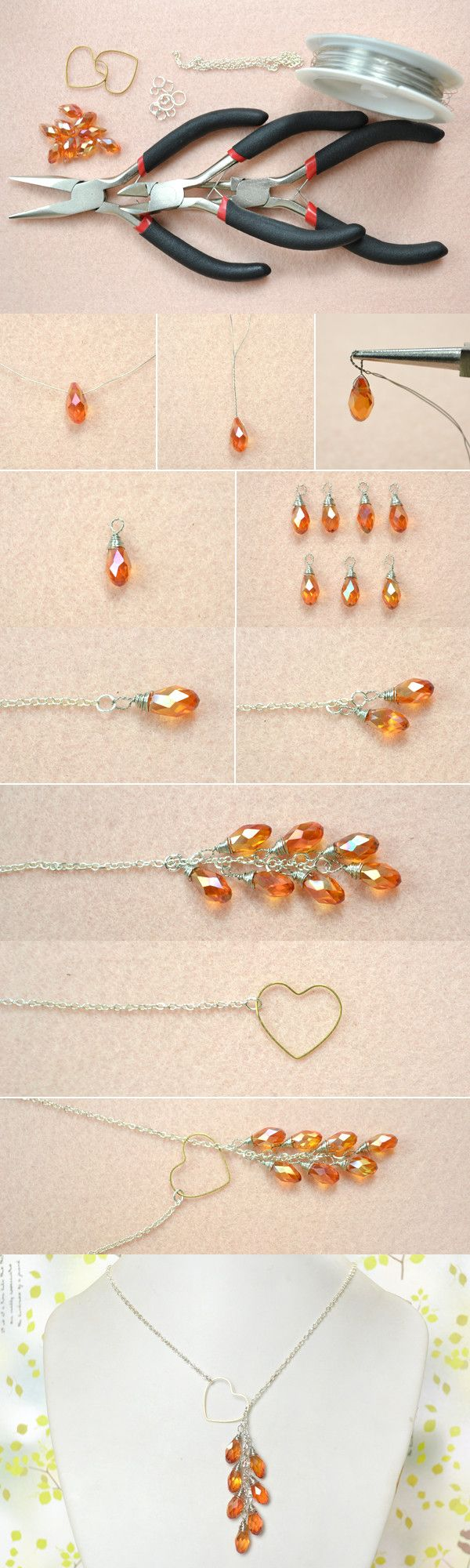 http://rubies.work/0267-ruby-rings/ Easy DIY Tutorial on How to Make a Heart Lariat Style Necklace from LC.Pandahall.com