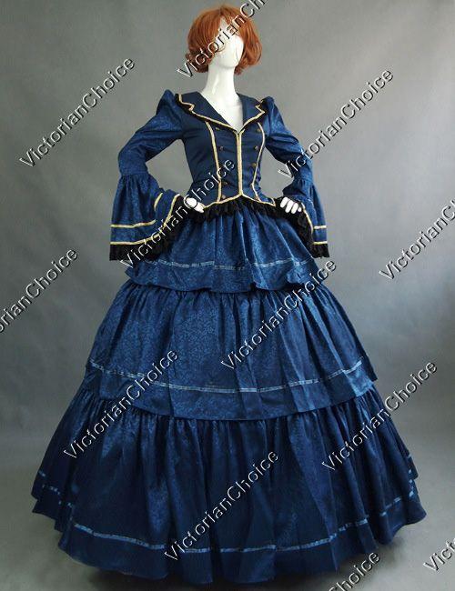 Civil War Victorian Brocade 3-Teir Ball Gown Period Dress Halloween Costume $169 http://www.victorianchoice.com/