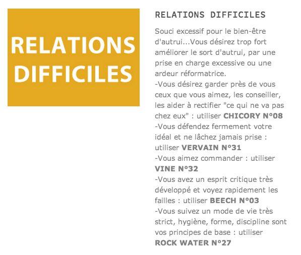 Relations difficiles. Quelles fleurs de Bach ? préconisations en Fleurs de Bach http://www.fleurs-de-bach.biz