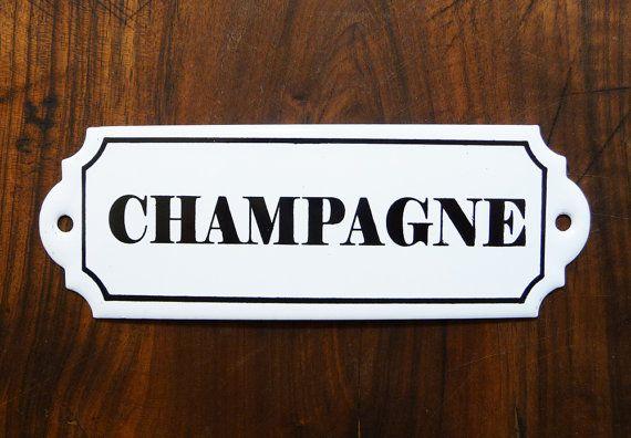 Plaque émaillée Champagne, french vintage, plaque de cave à vin, plaque ancienne, casiers à vin, décoration étro