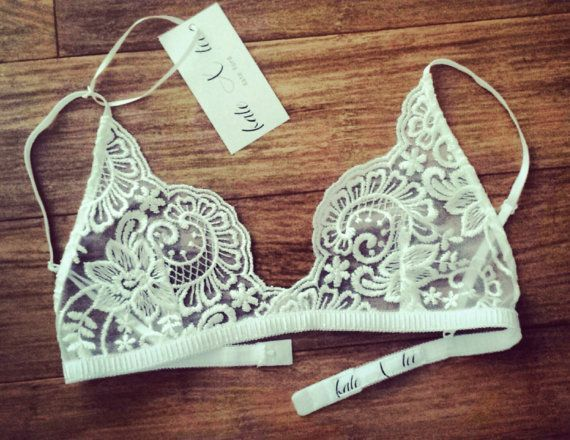 Handmade beautiful scalloped white lace bralette made by KateXTee