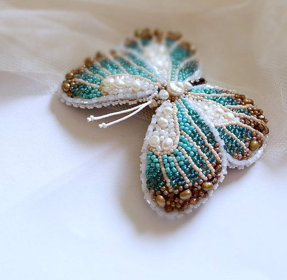 Turquoise ivory brown butterfly brooch bead embroidered butterfly. Made to order