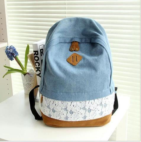 Fashion Floral Lace +Denim Canvas Women Bag Backpack School bag For Teenagers Ladies Girl Back Pack Schoolbag Bagpack Mochila Q0