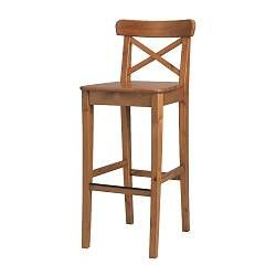 """INGOLF Bar stool with backrest - antique stain, 24 3/4 """" - IKEA"""