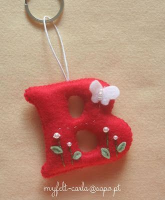 Felt keyring personalised with a decorated initial