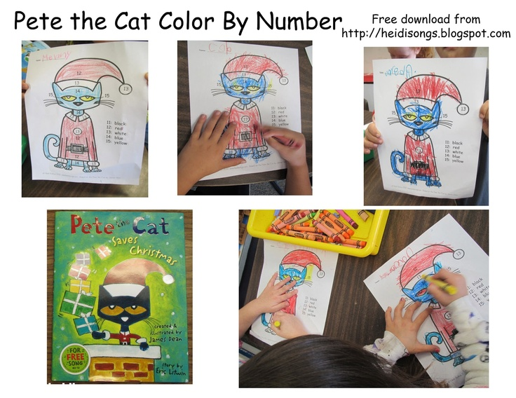 Color by numbers, Pete the cats and Number worksheets on