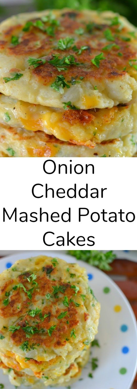 Onion and Cheddar Mashed Potato Cakes Recipe from Hot Eats and Cool Reads! This is one of the best recipes to use leftover mashed potatoes, especially after the holidays! A mixture of fresh herbs, garlic and some cheesy goodness makes this potato pancake perfection!