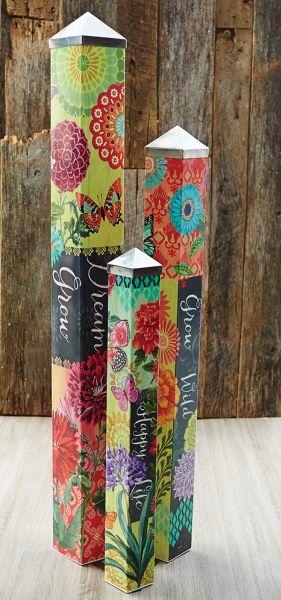 Boho butterfly art pole garden set of 3