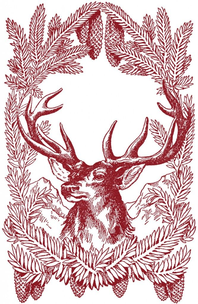 Vintage-Christmas-Deer-Images-GraphicsFairy-red - The Graphics Fairy