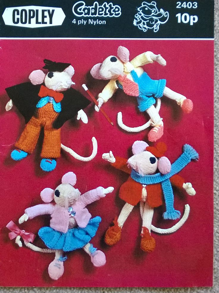 Eight Page Leaflet of Four Copley Cadette Toy 4 ply nylon Kniting Patterns - Charlie Mouse, Mandy Mouse, Marcus Mouse & Marty Mouse by ThePemburyEmporium on Etsy
