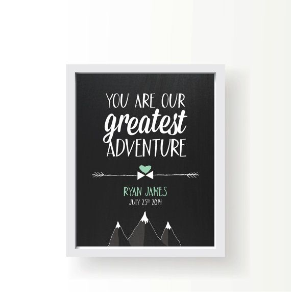Personalized Nursery Art • You Are Our Greatest Adventure • Chalkboard • Gift • Poster • Printable • Email • Arrow • Custom