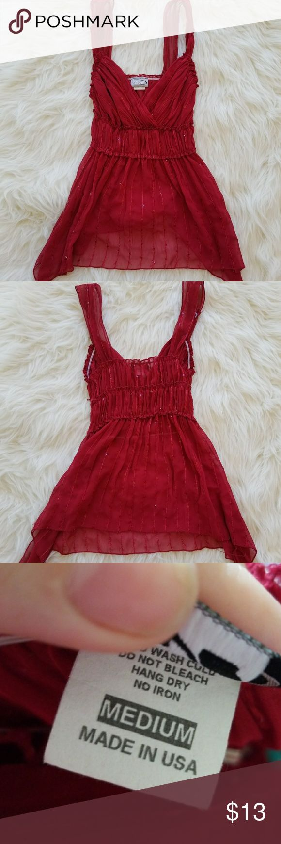 90s Sheer Sequin Baby doll Top Sheer red baby doll tank. Very 90's. Stretchy.   Brand: Rave Size: Medium Condition: Perfect, no flaws at all.  #vintage #sheer #boho #bohemian #bohochic #hippiechic #90s #90svintage #summer #summerfashion #summerstyle #fashion #style #cheap #styleforcheap #xoxopf #bundleandsave Tops Tank Tops