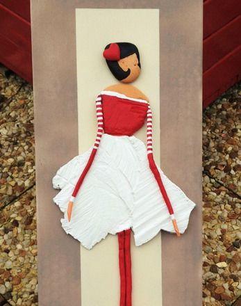 """Demoiselle """"Marilyn"""" du bois flotté réalisé avec un morceau de bois de forme original   trouvé au pied d'un arbre du bord de mer qui venait d'être tronçonné  suite à so - 20218156"""