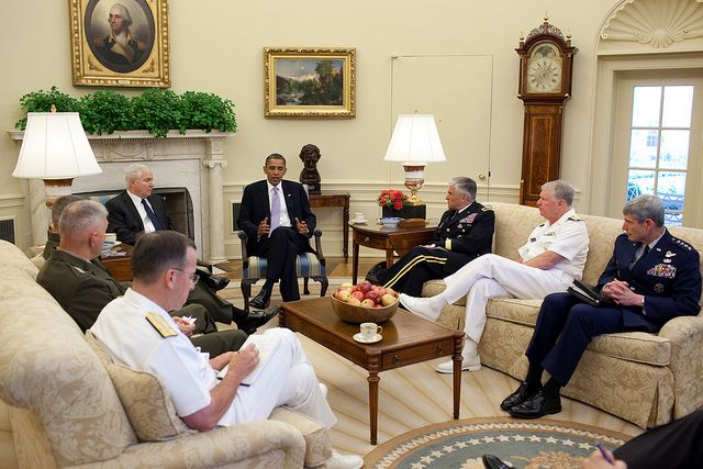 President Barack Obama meets with Defense Secretary Robert Gates and the Joint Chiefs of Staff in the Oval Office, June 21, 2010. Pictured, clockwise from the President, are Army Chief of Staff Gen. George W. Casey, Jr., Chief of Naval Operations Admiral Gary Roughhead, Chief of Staff of the Air Force Gen. Norton S. Schwartz, Chairman of the Joint Chiefs of Staff Admiral Michael Mullen, Commandant of the Marine Corps Gen. James T. Conway, and Gen. James Cartwright, vice chairman of the Joint…