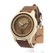 BOBO BIRD A27 Hollow Deer Head Bamboo Wood Casual Watches for Men Women laides Genuine Leather Strap Quartz Watch free shipping(China (Mainland))