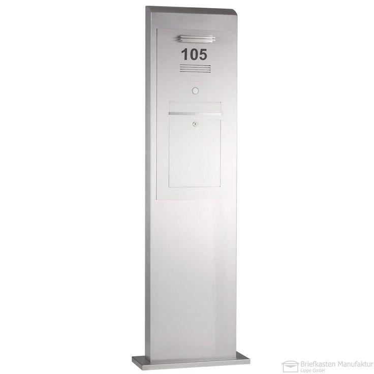Edelstahl Säulenbriefkasten / Standbriefkasten mit Sprechstelle - LED Lichtleiste - Klingel