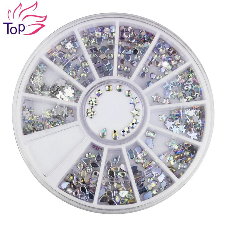 6 Models Shiny Acrylic Nail Art Stickers Tips Glitter Fashion Nail Tools DIY Decoration Stamping ZP025