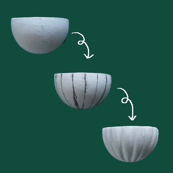"""planter"": 1/2 styrofoam ball; draw and incise to form grooves; embed faux plants (homemade or fishtank miniatures). Also works as a faux dollhouse ceiling light fixture     kj"