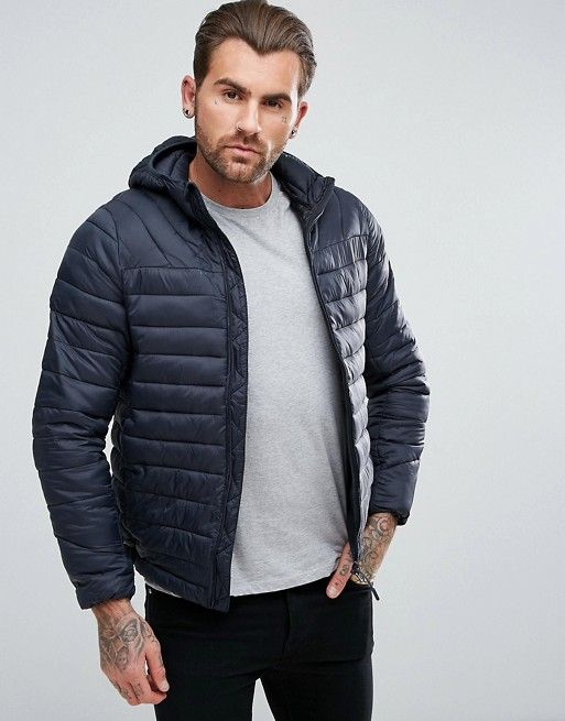 Pull&Bear Quilted Jacket With Hood In Navy Blue