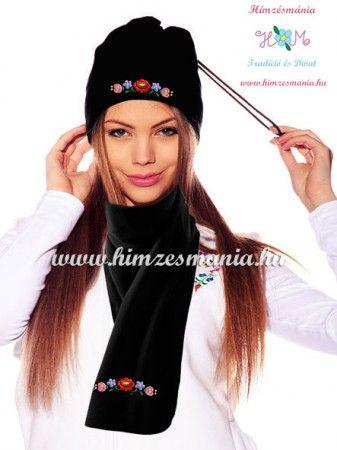 Hat scarf set - thermovelur - hungarian kalocsa motif - macine embroidery - black, Hat scarf set - thermovelur - hungarian kalocsa motif - macine embroidery - black, Kalocsai mintás, matyó mintás és egyéb népi motívummal hímzett és hímzésre előnyomott pólók, blúzok, ingek, szoknyák, nadrágok, ruhák, cipők hétköznapi és alkalmi viseletre. Hímzésmánia Webáruház - ahol találkozik a népi hagyományőrzés a mai divattal.
