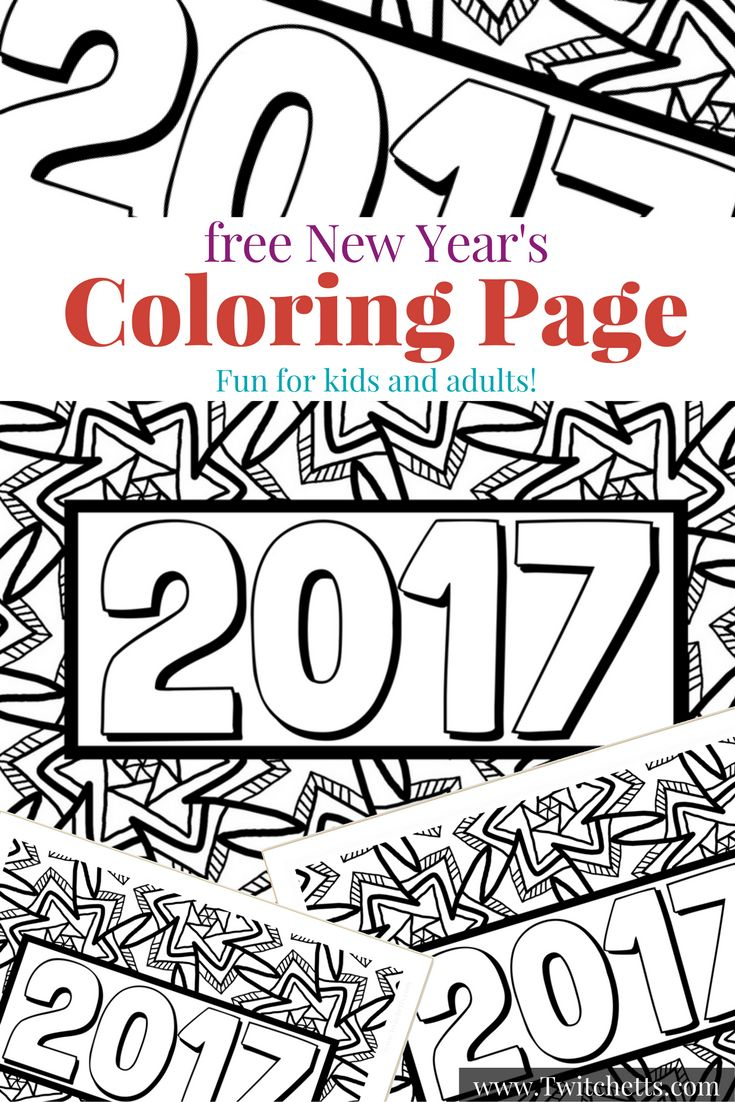 Grab this fun 2017 New Year's Eve Coloring Page to entertain your kids! This free printable is a great New Year's Eve kids activity. Perfect for anyone spending New Year's Eve with Kids.