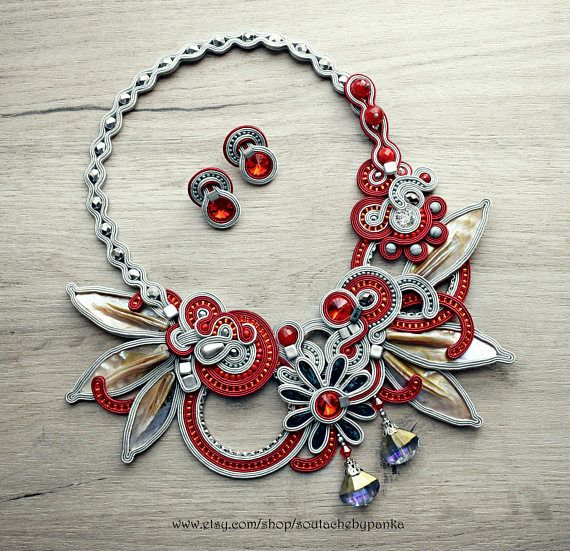 Hey, I found this really awesome Etsy listing at https://www.etsy.com/listing/564015111/red-and-gray-soutache-necklace-and-stud