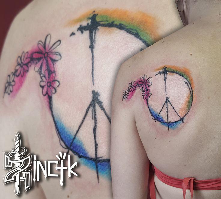 Martin Tattooer Zincik , Czech tattoo artist, Peace tattoo design watercolor abstract, Tetování Chrudim / Praha