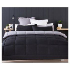 Reversible Grey Comforter Set - Single Bed