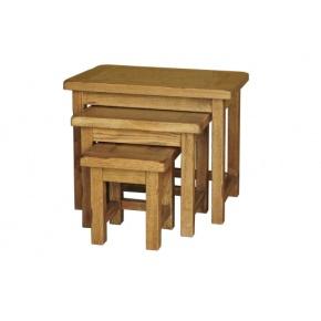 Rustic Solid Oak SRDT28 Small Nest of Table  www.easyfurn.co.uk