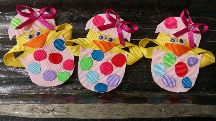 Girls Easter hair clip set hatching chick by 4yourbeautifulangel on Etsy