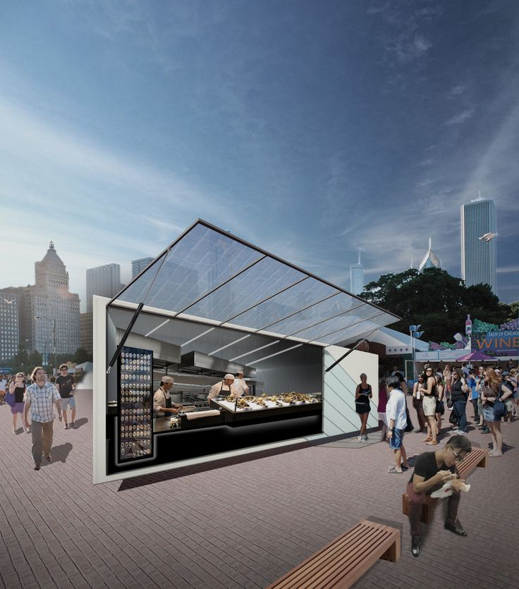 Featuring warm seats and photovoltaic cells, the kiosk will be built using a lightweight steel frame, skinned inside and out with wood, then encased in fiberglass and painted with a glossy, reflective, marine-grade paint. — Jonathan Boelkins, St. Louis, USA — Chicago Architecture Biennial Lakefront Kiosk Competition