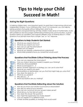 This parent letter gives students, families, teachers, and tutors a quick reference guide to assist them when solving difficult math problems and homework questions. It gives a list of critical thinking questions to be used before, during, and after solving problems.